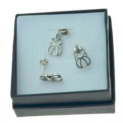 Komplet biżuterii srebrnej ażurowy oksydowany kmp019 srebro 925