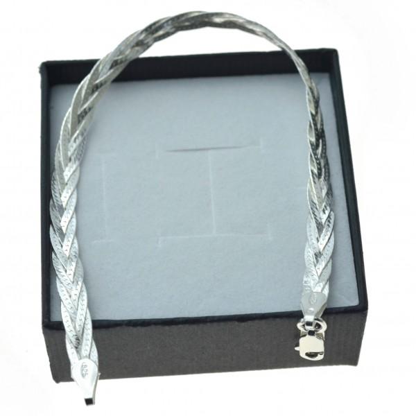 Bransoletka srebrna taśma pleciona warkocz srebro 925