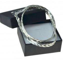 Naszyjnik srebrny taśma plecionka warkocz srebro 925 45cm