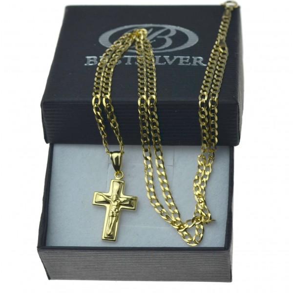Złoty komplet łańcuszka pancerka 50cm 3mm + krzyżyk z P.Jezusem ZLT09