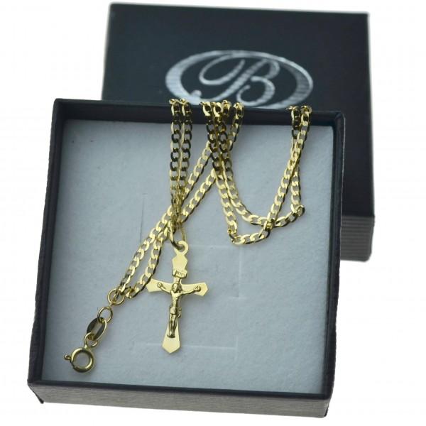 Złoty komplet łańcuszek pancerka 50cm 2mm + krzyżyk 585 z P.Jezusem zlt08