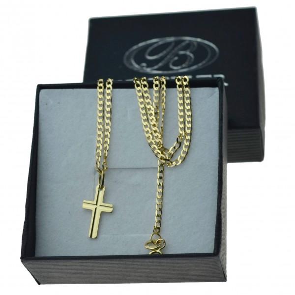 Złoty komplet łańcuszek pancerka 50cm 2mm + krzyżyk gładki 585 zlt06
