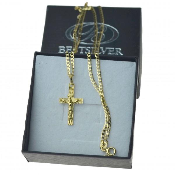 Złoty komplet łańcuszek pancerka 50cm 2mm + krzyżyk 585 z P.Jezusem zlt07