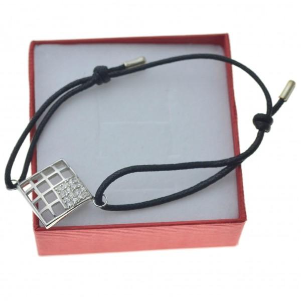 Bransoletka srebrna sznurkowa z kwadratem ażurowym BR018