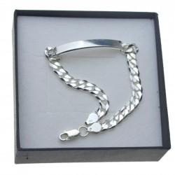 Bransoletka srebrna pancerka z blachą 21cm 6mm Srebro 925