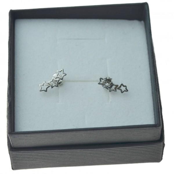 Kolczyki srebrne gwiazdki rodowane srebro próby 925