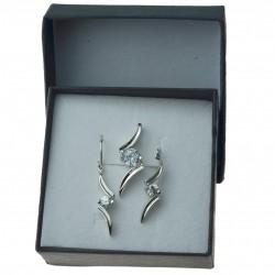 Komplet srebrne wiszące kolczyki + zawieszka fala klasyczne srebro 925