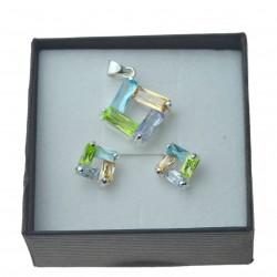 Komplet srebrnej biżuterii na lato kolorwoe cyrkonie srebro 925
