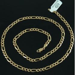 Łańcuszek Srebrny złocony 55cm figaro 4,5mm Srebro złocone