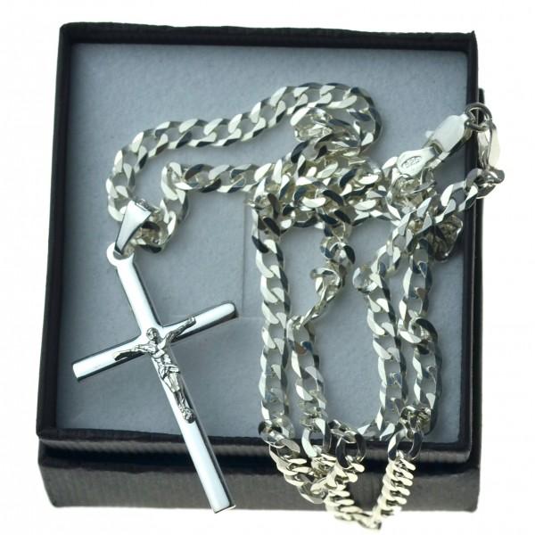Łańcuszek Pancerka + krzyżyk z Panem Jezusem komplet KR69 srebro pr. 925