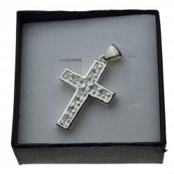 Duży krzyżyk srebrny z cyrkoniami Srebro 925