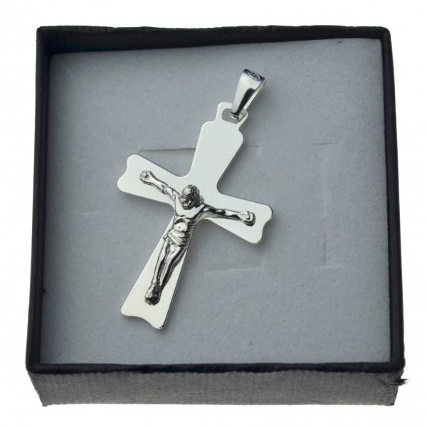 Duży krzyżyk srebrny z Panem Jezusem Srebro 925 k089