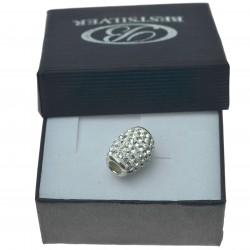 Koralik do bransoletki lub łańcuszka biały kamienie swarovski owal