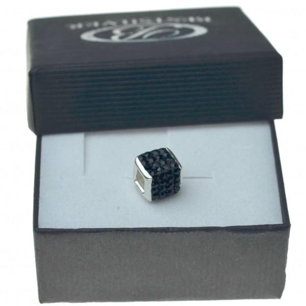Koralik do bransoletki lub łańcuszka czarny kamienie swarovski kwadrtatowy