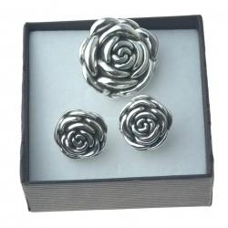 Komplet srebrny róże zawieszka + kolczyki srebro próby 925