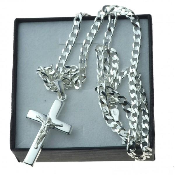 Komplet srebrny męski łańcuszek z krzyżykiem srebro KMP019