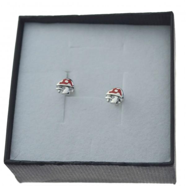 Kolczyki Srebrne grzybki dziecięce ze srebra 925