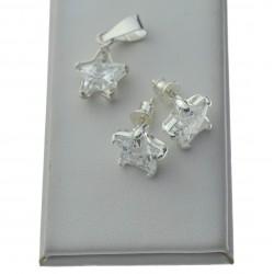 Komplet srebrny gwiazdki cyrkonie zawieszka + kolczyki srebro 925 KOM014
