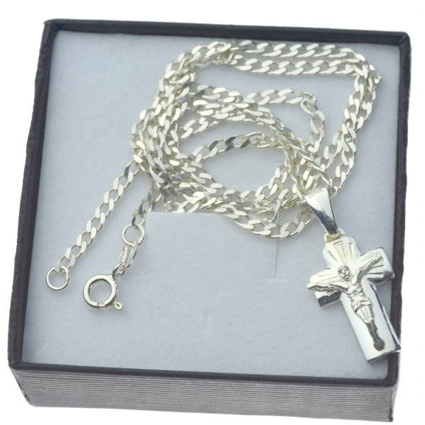 Męski komplet biżuterii męskiej łańcuszek srebrny pancerka 50cm + krzyżyk z Jezusem