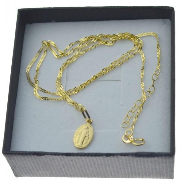 Złoty komplet łańcuszek singapur + medalik niepokalana 585