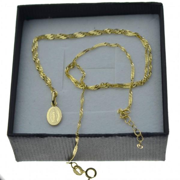 Złoty komplet łańcuszek singapur + medalik mały niepokalana 585
