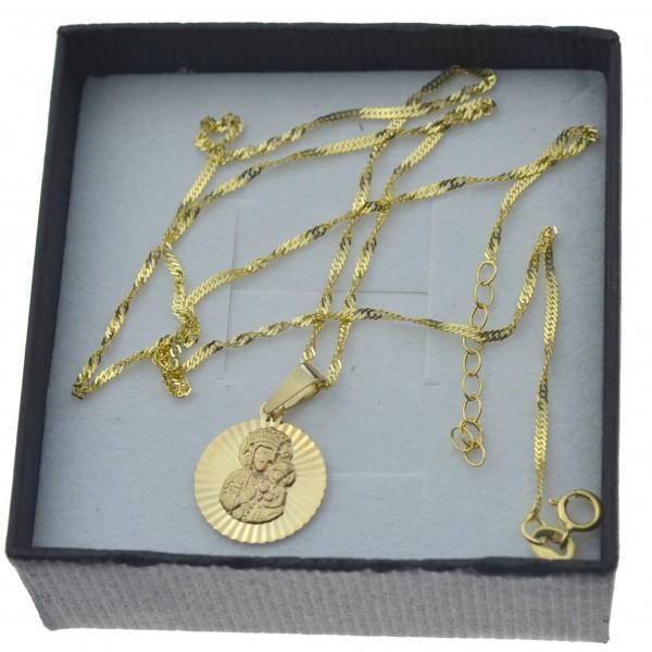 Złoty komplet łańcuszek + medalik okrągły matka boża częstochowska 585 kmp091