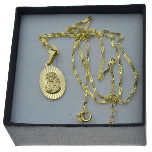 Złoty komplet łańcuszek + medalik owalny matka boża częstochowska 585 kmp092