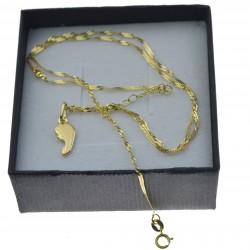 Złoty komplet łańcuszek + medalik matka boża twarz 585 kmp093