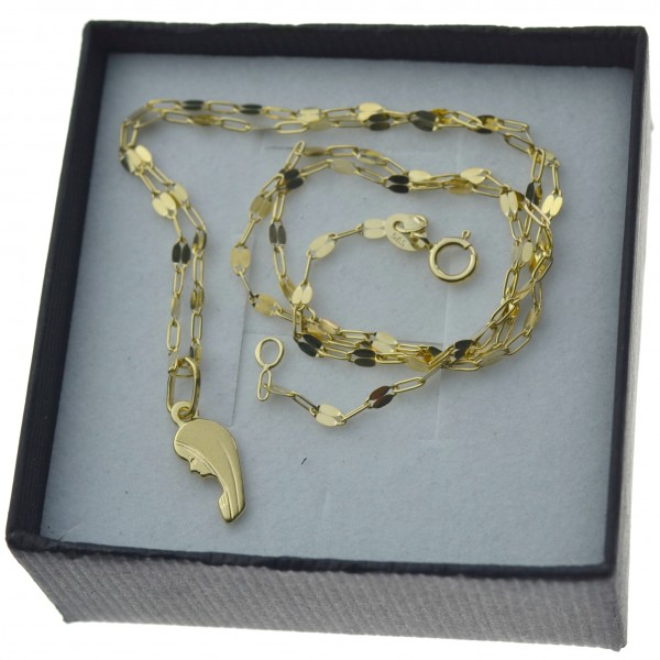 Złoty komplet łańcuszek mocca + medalik matka boża twarz 585 kmp094