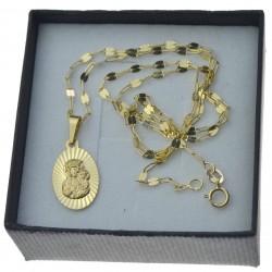 Złoty komplet łańcuszek mocca + medalik owalny matka boża częstochowska 585 kmp095