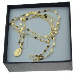 Złoty komplet łańcuszek mocca + medalik mały niepokalana 585 kmp096
