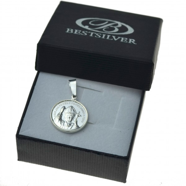 Medalik srebrny duży okrągły Jan Paweł II srebro 925
