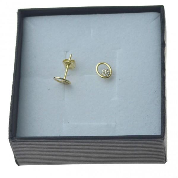 Kolczyki złote owalne z cyrkoniami sztyfty 333