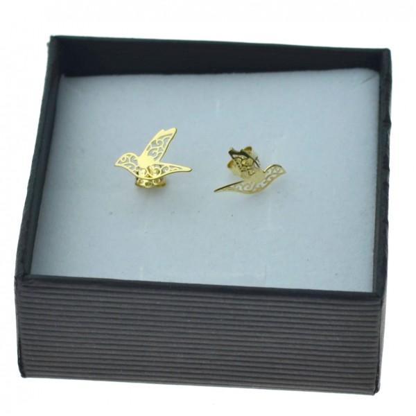 Kolczyki złote ptak ażurowy sztyfty złoto 333