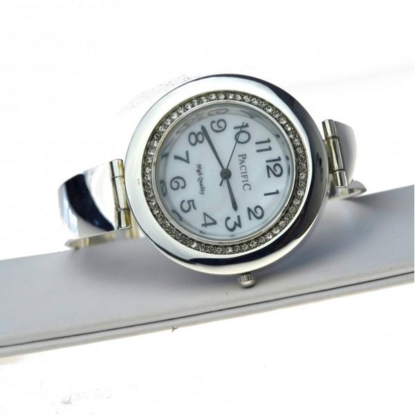 Srebrny Zegarek Damski okrągły biała tarcz z cyrkoniami Srebro pr.925 zeg055