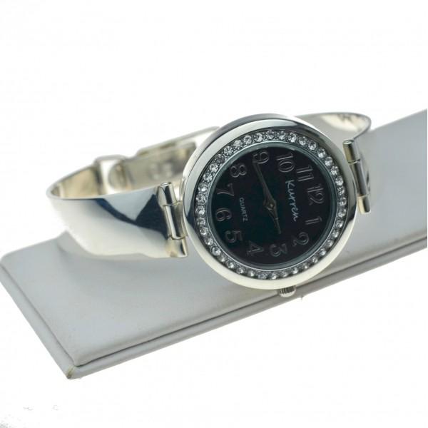 Zegarek srebrny z czarną okrągłą tarczą i cyrkoniami