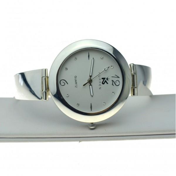 Zegarek Srebrny z okrągłą dużą tarczą białą b.widoczny zeg009