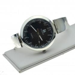 Zegarek srebrny z czarną okrągłą tarczą zeg057