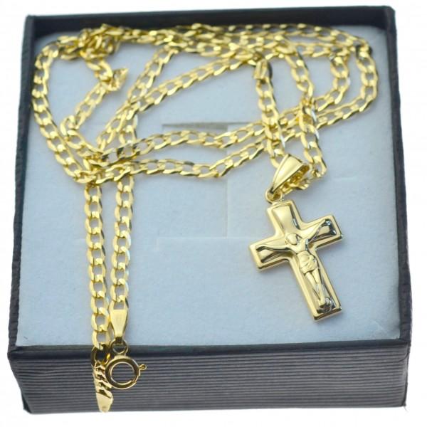 Złoty komplet łańcuszek + krzyżyk z Jezusem 333 kmp097