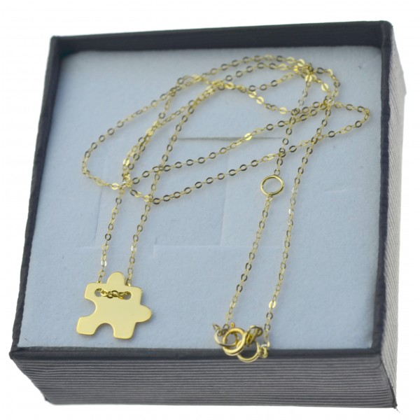 Delikatny Złoty łańcuszek Celebrytka puzzel złoto próby 8kt