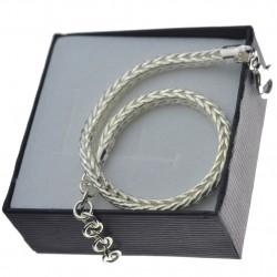 Bransoletka srebrna damska lisi ogon 18,5cm +3,5cm srebro