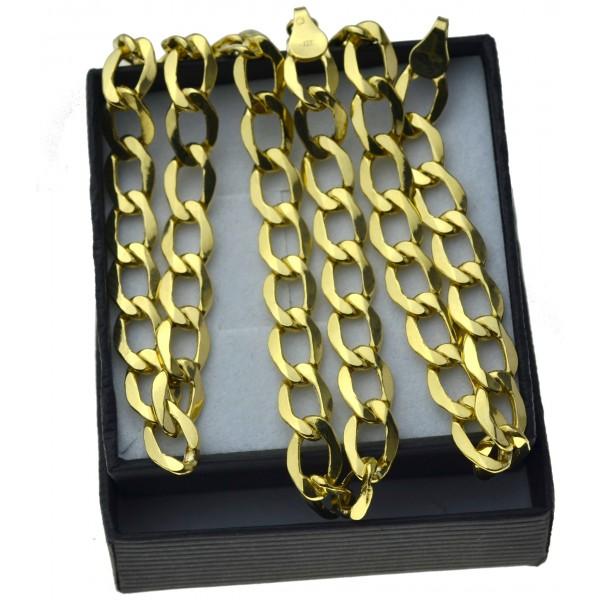 Złoty męski łańcuszek pancerka 55cm 7,5mm złoto pr.585 LAN012
