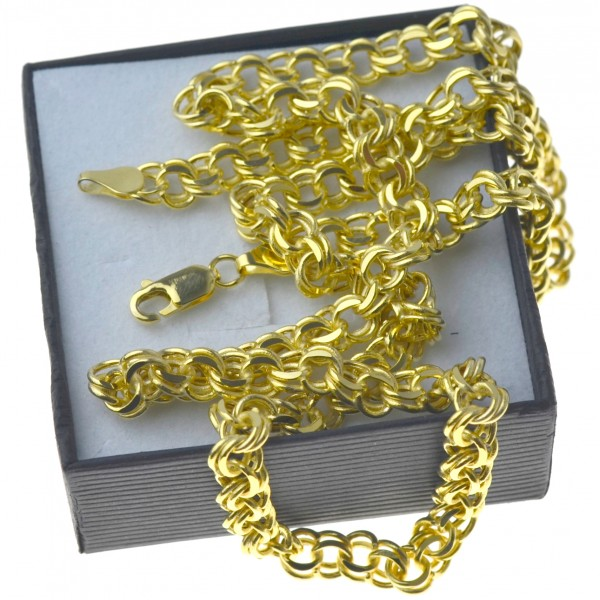 Złoty męski łańcuszek garibaldi 60cm 6mm złoto pr.585 LAN015