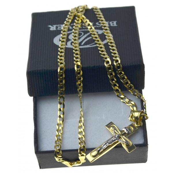 Męski złoty komplet łańcuszek pancerka + krzyżyk 585 LAN022