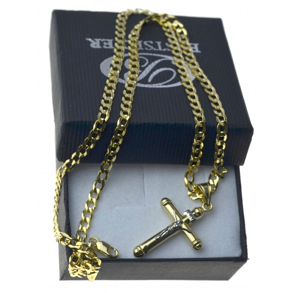 Złoty komplet męski łańcuszek pancerka + krzyżyk 585 LAN023