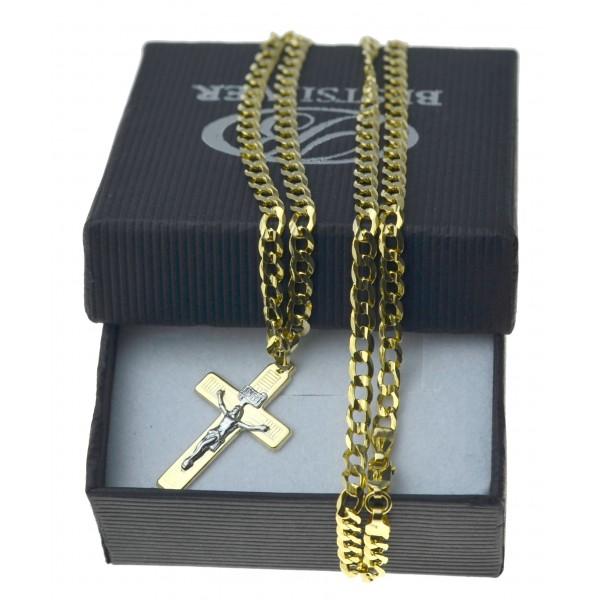 Łańcuszek Złoty Pancerka 50cm 3mm + krzyżyk z P. Jezusem nr2 Złoto pr 585