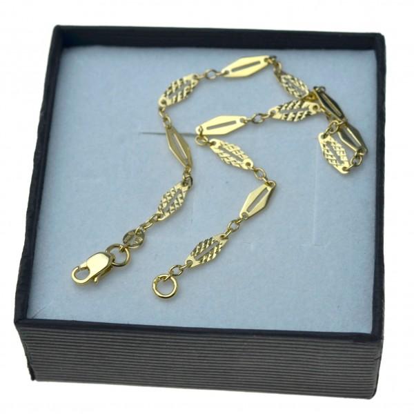 Bransoletka złota damska 19cm listki złoto 333 BRZ040