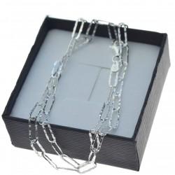 Łańcuszek srebrny damski spinacz gnieciony Srebro 925 50cm LAN032