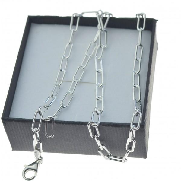 Łańcuszek srebrny damski spinacz 4mm Srebro 925 45cm LAN035