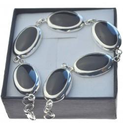 Bransoletka srebrna z dużymi czarnymi kamieniami srebro 925 bran009